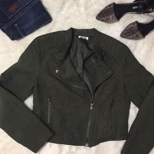 Just Fab Faux Suede Army Green Moto Jacket